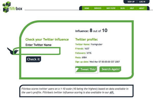 Filtrbox Twitter Influence Checker